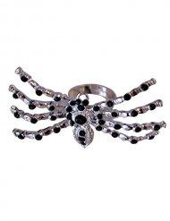 Zwarte en zilverkleurige kralen spinnenring