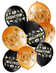 8 zwarte en oranje Halloween ballonnen