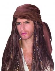 Piraten pruik met bruine bandana voor mannen