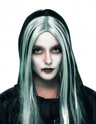 Vampier pruik met lange zwarte haren voor vrouwen