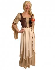Beige en bruine middeleeuwse barones outfit voor vrouwen