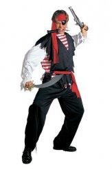 Rood zwart en wit piraten strijder kostuum voor mannen