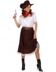 Bruin en wit cowgirl kostuum voor vrouwen