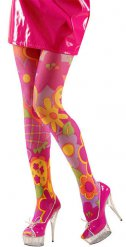 Roze en veelkleurige hippie legging voor volwassenen