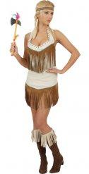 Beige indianen kostuum voor vrouwen