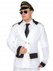 Zwarte met witte pilotenjas voor heren