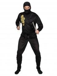 Zwart en goudkleurige ninja kostuum voor volwassenen