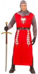 Rood en grijs middeleeuws ridder kostuum voor volwassenen