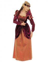 Rode en oranje middeleeuwse koningin outfit voor vrouwen