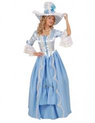 Lichtblauw en wit barok kostuum voor vrouwen