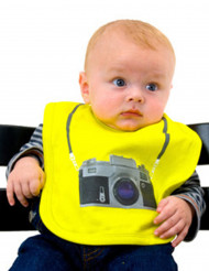 Geel fotocamera slabbetje voor baby