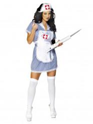 Sexy wit en blauw verpleegster kostuum voor vrouwen