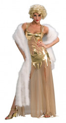 Goudkleurige film diva outfit voor vrouwen