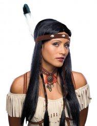 Lange Indianen pruik voor volwassenen