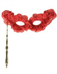 Rode kanten masker op stokje voor volwassenen