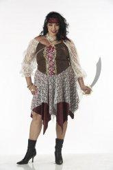 Bruine piraat outfit voor vrouwen - Grote Maten