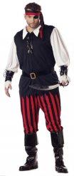 Zwart rood en wit piraat kostuum voor mannen