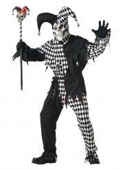 Zwart en wit duister harlekijn kostuum voor mannen