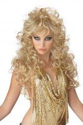 Lange blonde jaren 80 pruik voor vrouwen