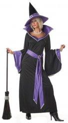 Zwart en paars heksen kostuum voor vrouwen
