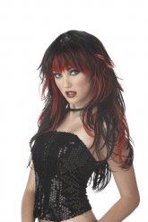 Zwarte en rode gothic pruik
