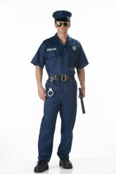 Blauwe politie outfit met badge voor heren