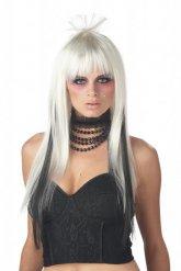 Lange zwart witte pruik voor vrouwen