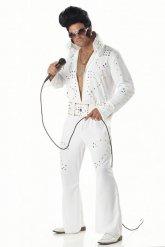 Wit koning van de rock kostuum voor mannen