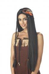 Indianen pruik met lange zwarte haren