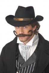 Bruine cowboy snor voor mannen