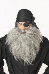 Grote grijze piraten baard voor volwassenen