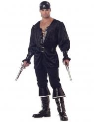 Zwart piraten kostuum met veterblouse voor mannen