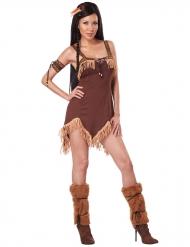 Sexy bruin indianen kostuum met beige franjes voor vrouwen