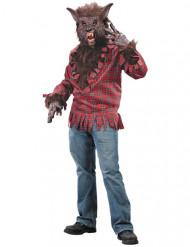 Bruin en rood weerwolf kostuum voor mannen
