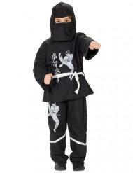 Zwart en wit ninja kostuum met opdruk voor kinderen