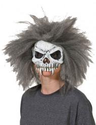 Skelet schedel masker met haren voor volwassenen