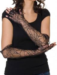 Zwarte spinnenweb handschoenen voor volwassenen