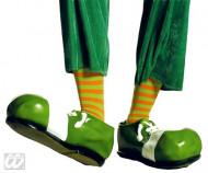 Groen en oranje gestreepte clown sokken voor volwassenen