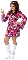 Groovy psychedelische disco outfit voor dames - Grote Maten