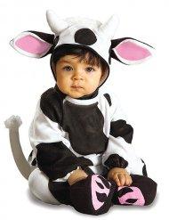 Zwart en wit koe kostuum met roze oren voor baby