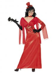Rood satijnachtig vampier kostuum voor vrouwen