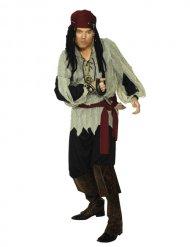 Rode en zwarte piraten outfit voor heren