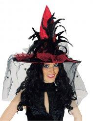 Rode satijnachtige hoed met sluier en veren voor volwassenen