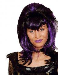 Zwarte en paarse vampier pruik voor vrouwen