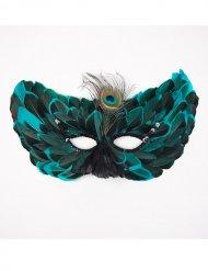 Turquoise masker met veren voor volwassenen