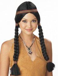 Zwarte indianen pruik met hoofdband voor vrouwen