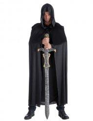 Lange zwarte ridder cape voor volwassenen