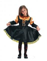 Oranje en zwart mooi heksen kostuum voor meisjes