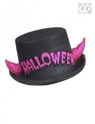 Zwarte hoed met roze hoorns voor volwassenen