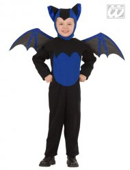 Blauw met zwart vleermuis kostuum voor kinderen